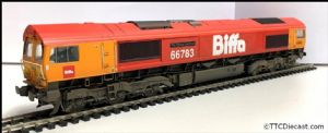 Bachmann / Rainbow railways Class 66 66783 Biffa - Expertly Resprayed, Weathered & Renumbered